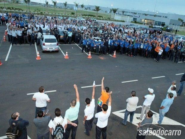 Funcionários em greve em Piracicaba (SP)