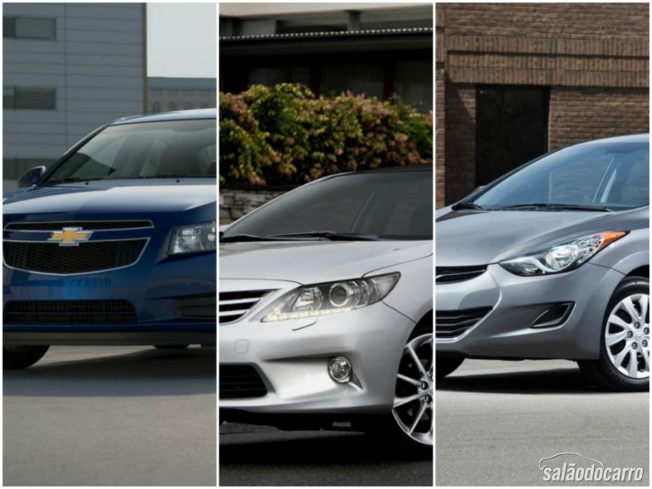 Sedans médios: Cruze x Corolla x Elantra