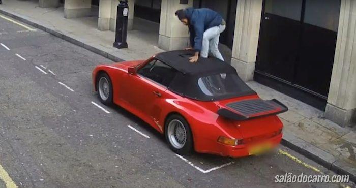 Homem tenta furtar Porsche de uma forma inusitada