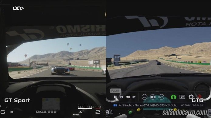 Confira um comparativo com gráficos do Gran Turismo Sport e Gran Turismo 6
