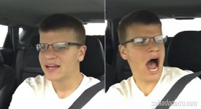 Rapaz registra próprio acidente dentro de carro