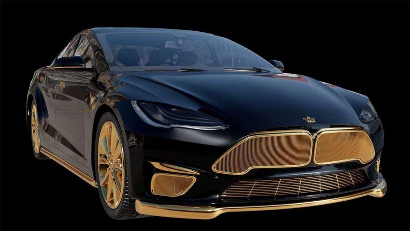 Tesla Model S mais caro do mundo possui elementos banhados a ouro 24k