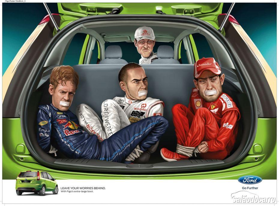 Versão com pilotos da F1 da propaganda polêmica da Ford.