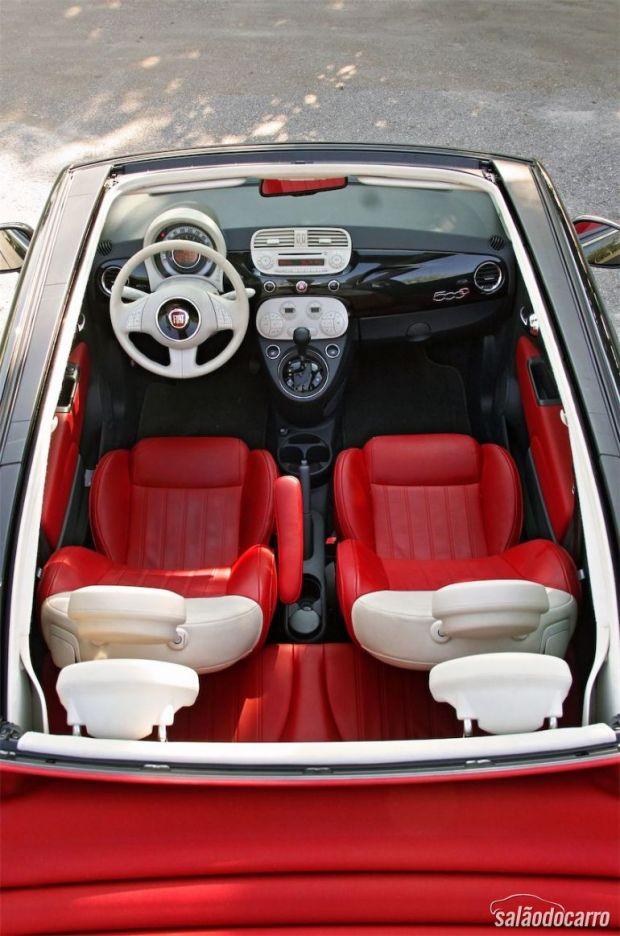 Fiat 500C - Visão de cima e do interior