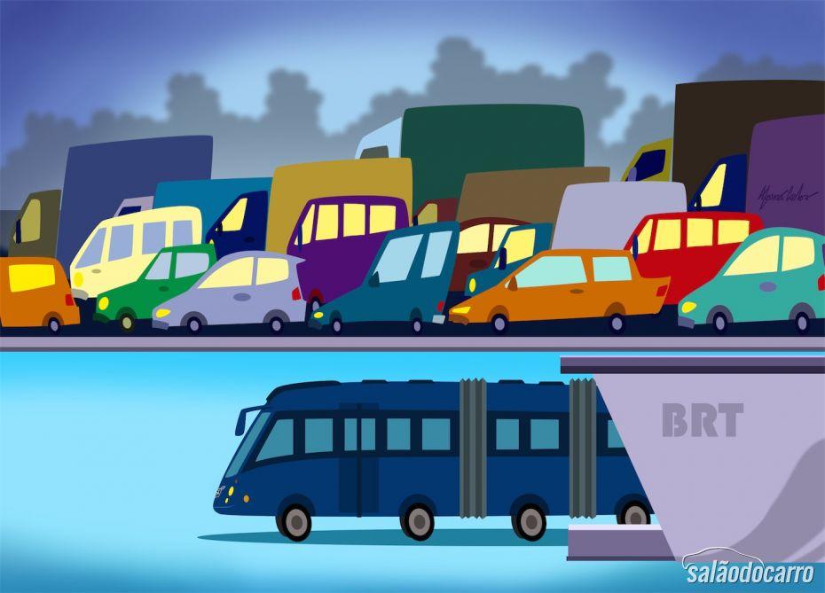 Ilustração Sistema BRT Ônibus