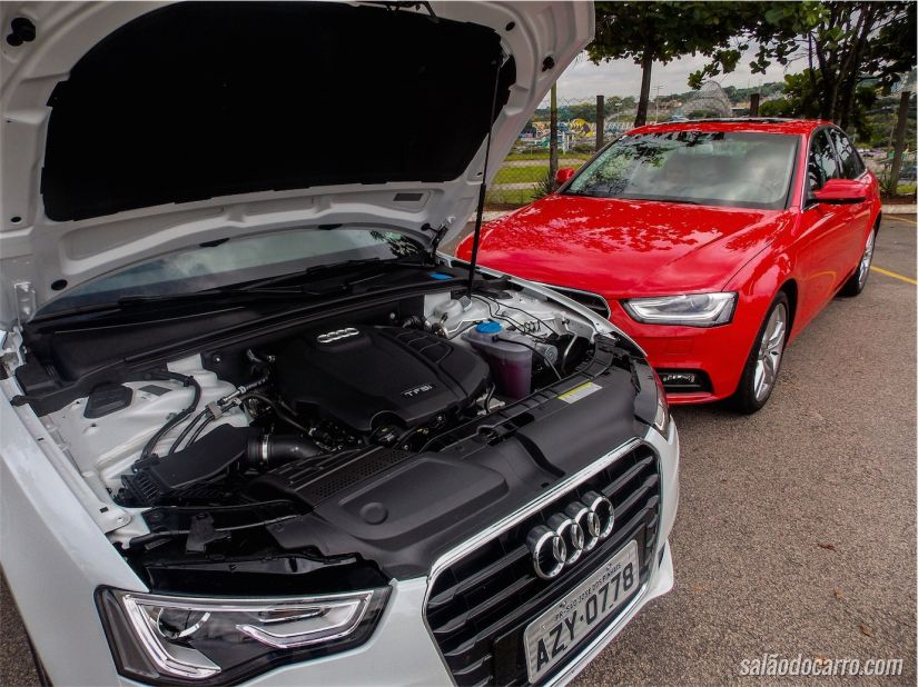 Motor 1.8 TFSI. Na foto, o capô do Audi A5 aberto.